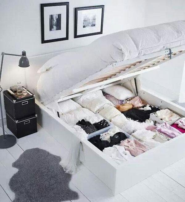 Slaapkamer ideeën bed met opbergruimte