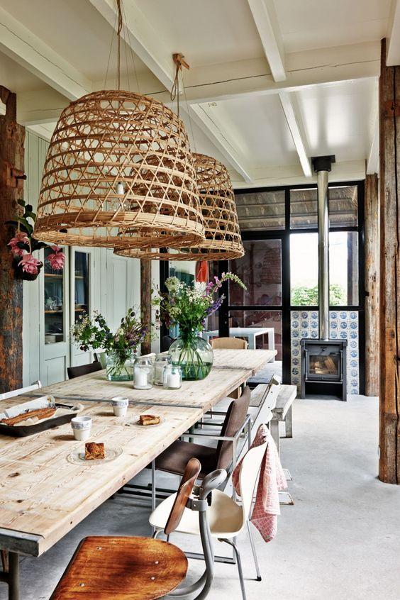 2 hangenmand hanglampen boven eettafel