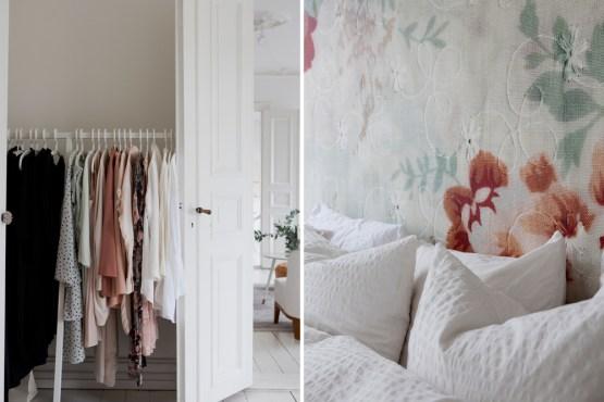 Leuk Behang Slaapkamer : Een serene slaapkamer met bloemetjes behang wooninspiratie