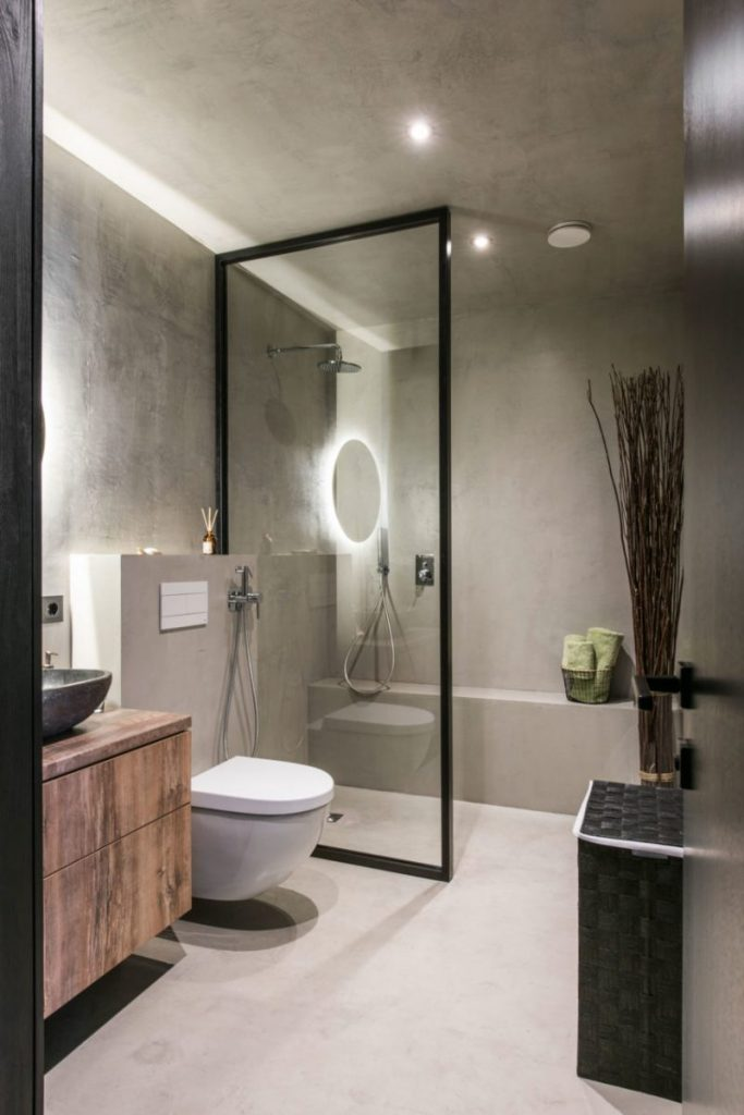 Badkamer ideeën stijl betonstuc