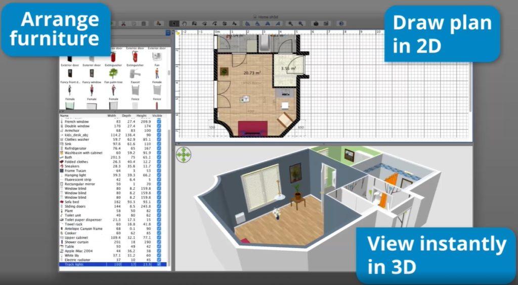 Huis inrichten tools sweet home 3D