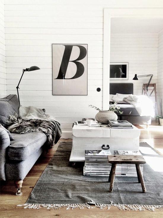 Scandinavische woonkamer wooninspiratie - Deco zwarte living ...