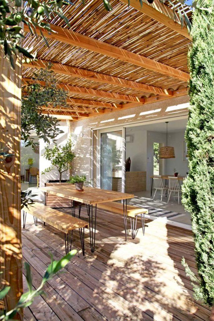 Tuin luifel Natuurlijke luifel met bamboe