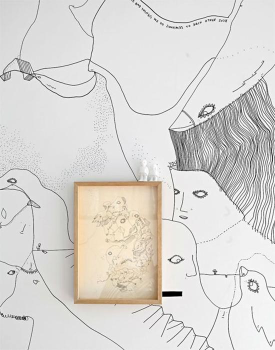Artistieke huisinrichting vol met illustraties