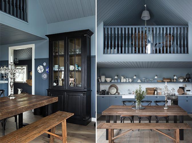 Authentieke blauwe woonkamer van The Black House