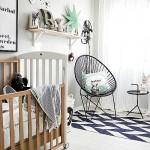 Een babykamer met grafische invloeden