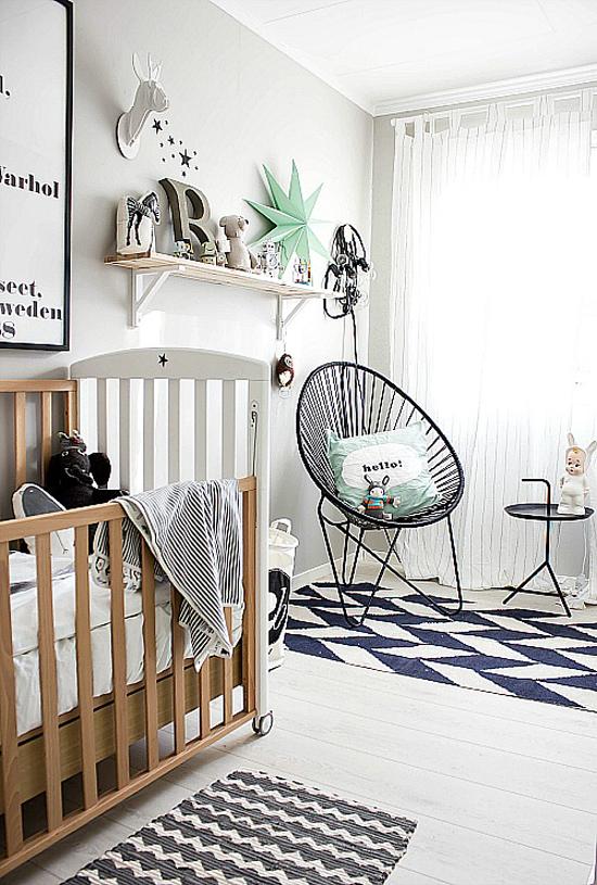 een babykamer met grafische invloeden | wooninspiratie, Deco ideeën