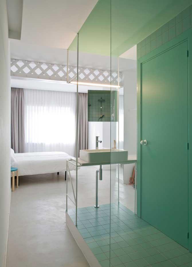 badkamer ensuite pastel industrieel