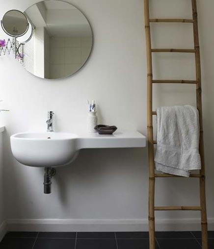 badkamer voorbeelden bamboe ladder