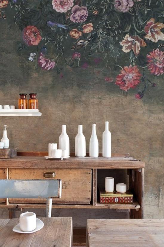 Behang met bloemenpatroon wooninspiratie - Idee deco woonkamer foto ...
