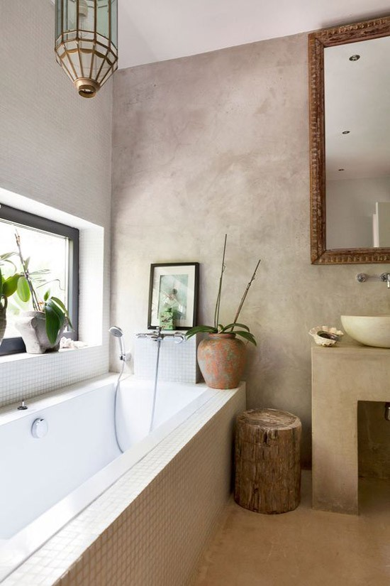 Beton stuc in de badkamer