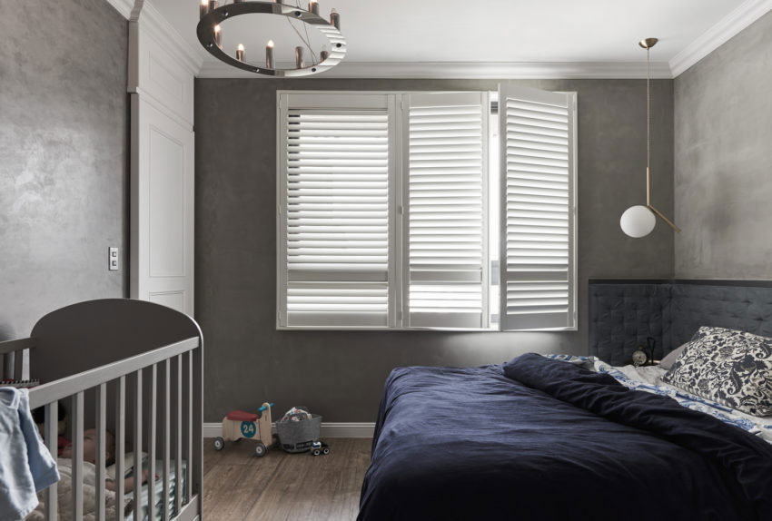 Chique slaapkamer met betonstuc muren