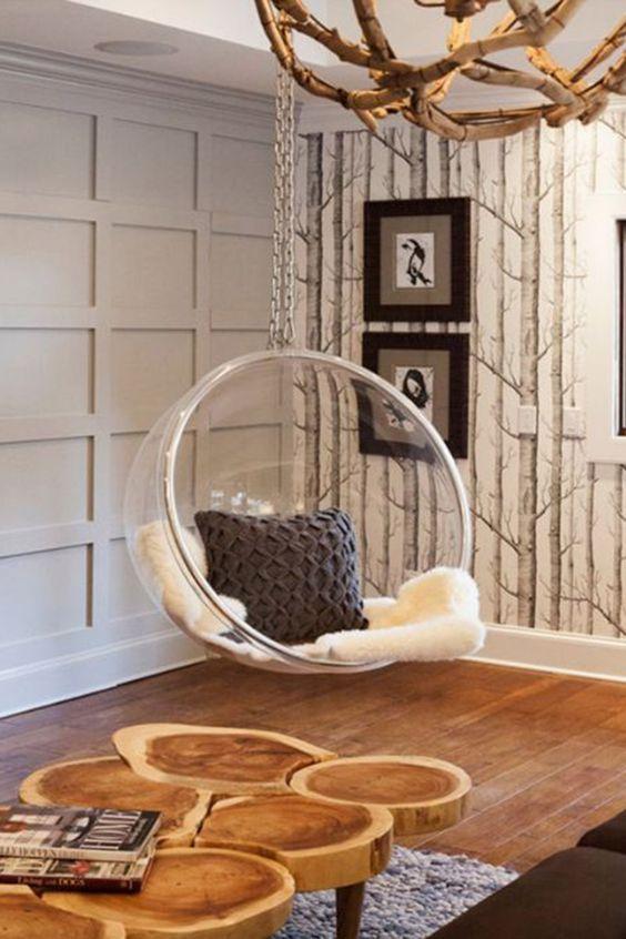 Transparante hangstoel
