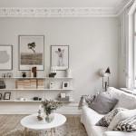 Een prachtige witte woonkamer inrichting