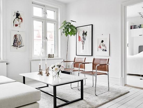 Een simpele mooie woonkamer inrichting