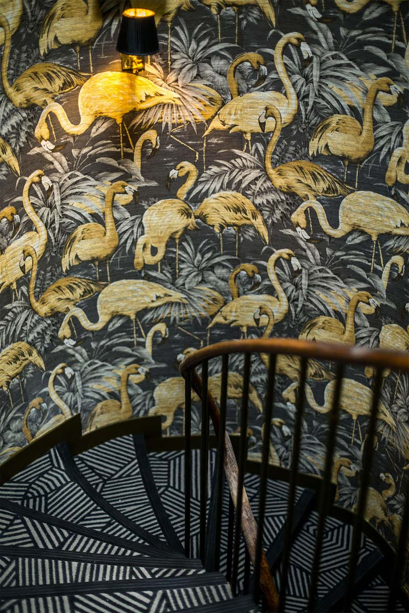 flamingo behang hotel snob