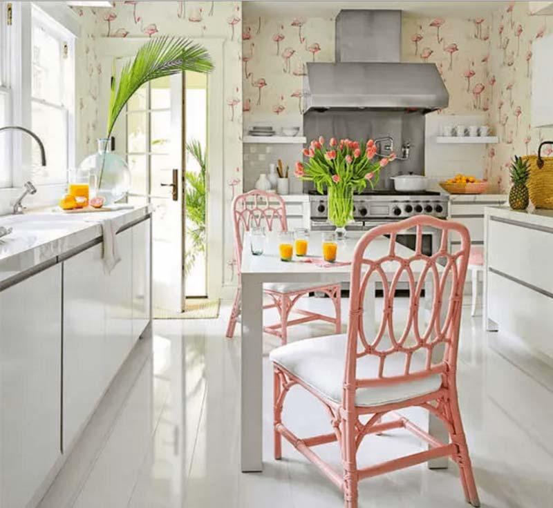 flamingo behang keuken