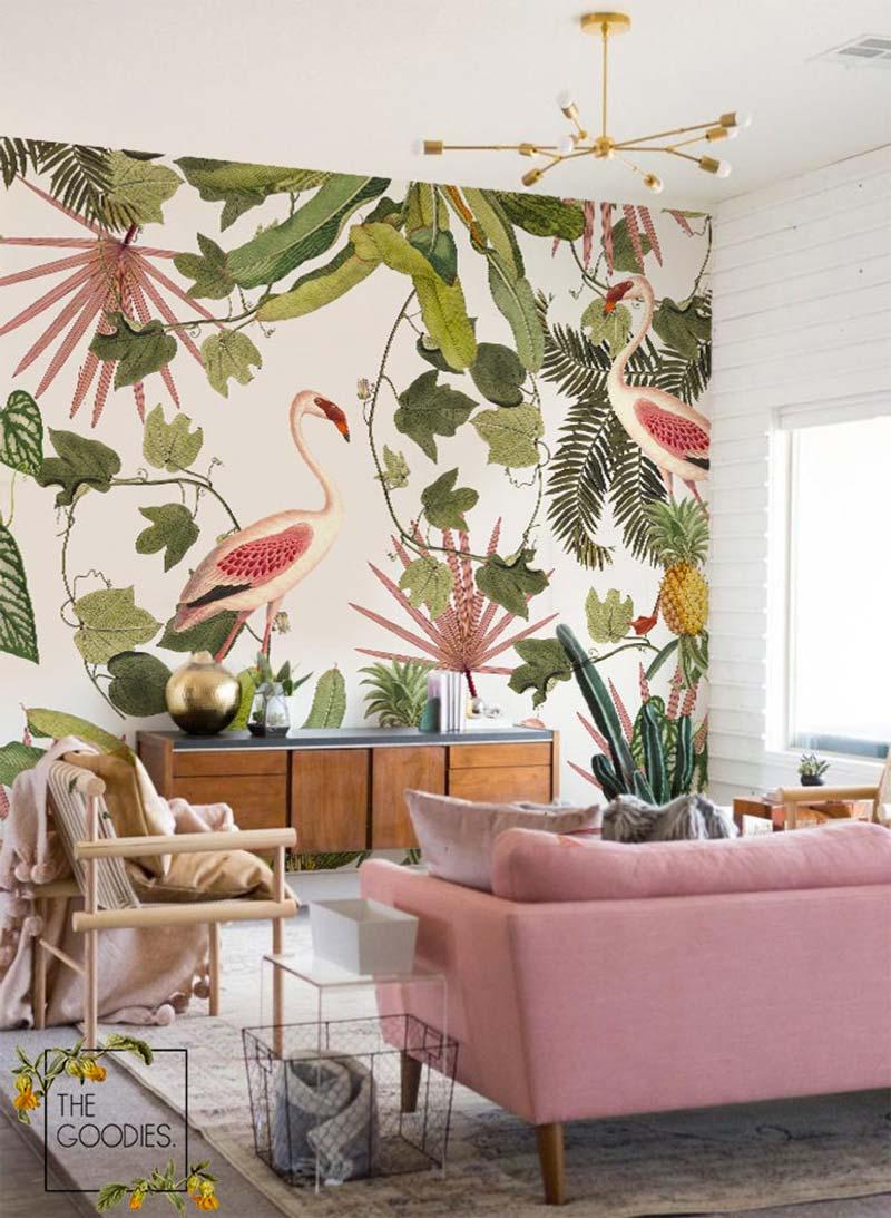 flamingo behang woonkamer
