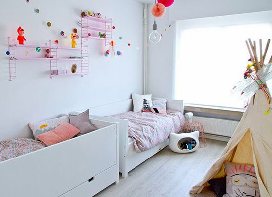 Gedeelde kinderkamer idee n wooninspiratie for Meisje slaapkamer fotos