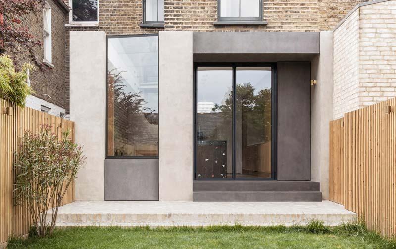 glazen uitbouw betonlook