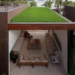 Gras op balkon of terras