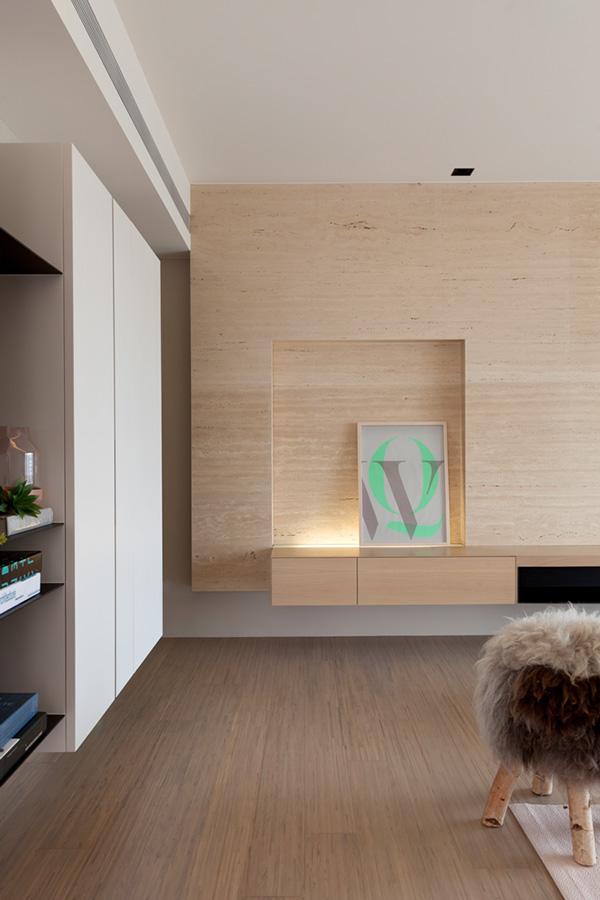 houten wandbekleding woonkamer