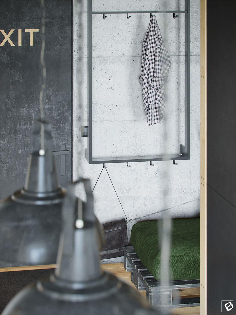 In deze stoere industriële loft woonkamer is een beamer opgehangen!