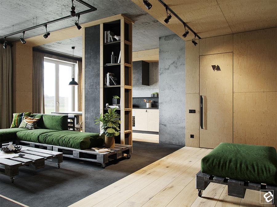 Industriele Loft Woonkamer : In deze stoere industriële loft woonkamer is een beamer opgehangen