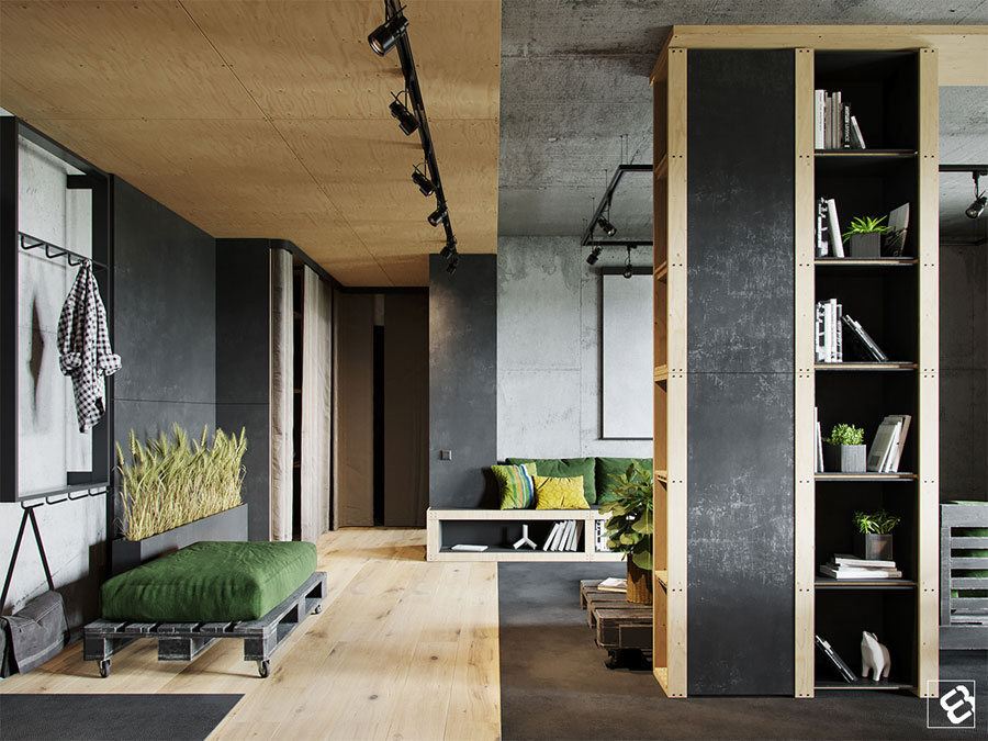 Stoere Industriele Loft : In deze stoere industriële loft woonkamer is een beamer opgehangen