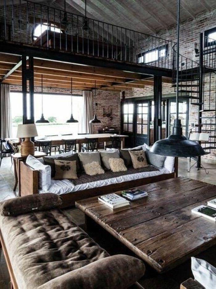 industriële hanglamp boven salontafel