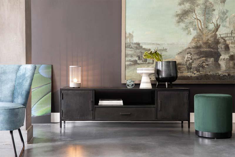 zwarte industriële tv meubel axilon