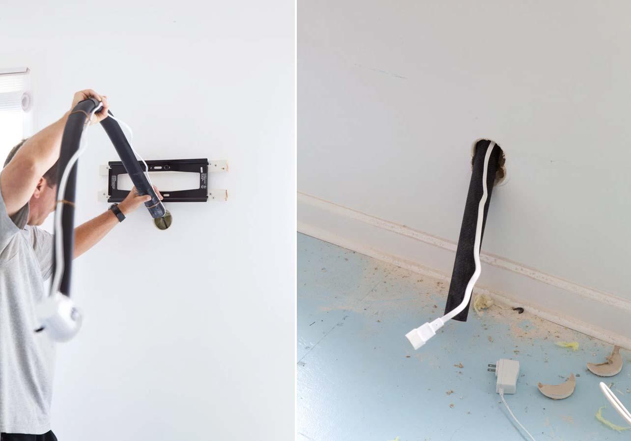 kabels wegwerken tv in muur