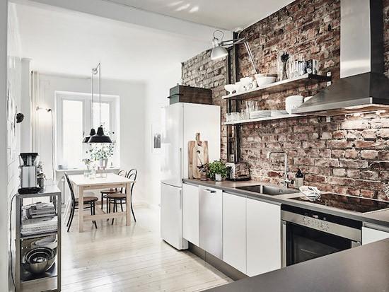 Keuken met bakstenen muur | Wooninspiratie