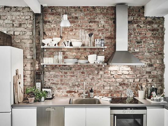 Bakstenen Muur Woonkamer : ... een bakstenen muur is gekozen lijkt het ...
