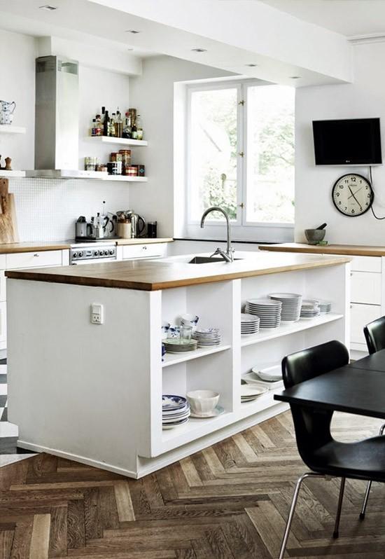 Keuken open keuken tegelvloer woonkamer overgang inspirerende foto 39 s en idee n van het - Keuken eetkamer ...