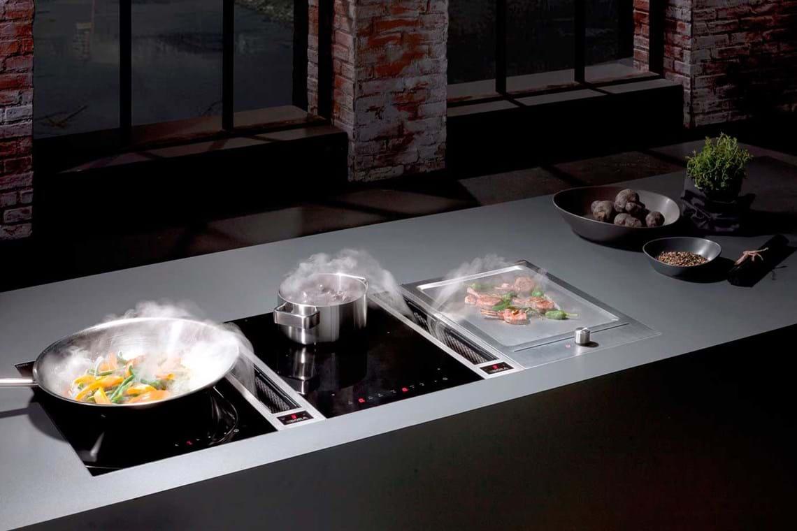 keukentrends 2021 afzuigkap in kookplaat