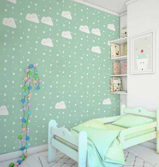 Kinderkamer met groene muren