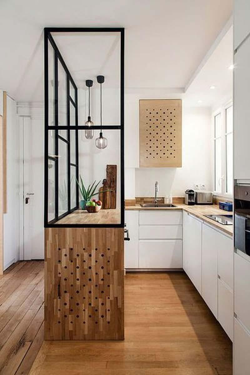 kleine keuken inrichten tips glazen wand