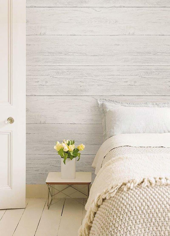 kleine slaapkamer behang houtlook