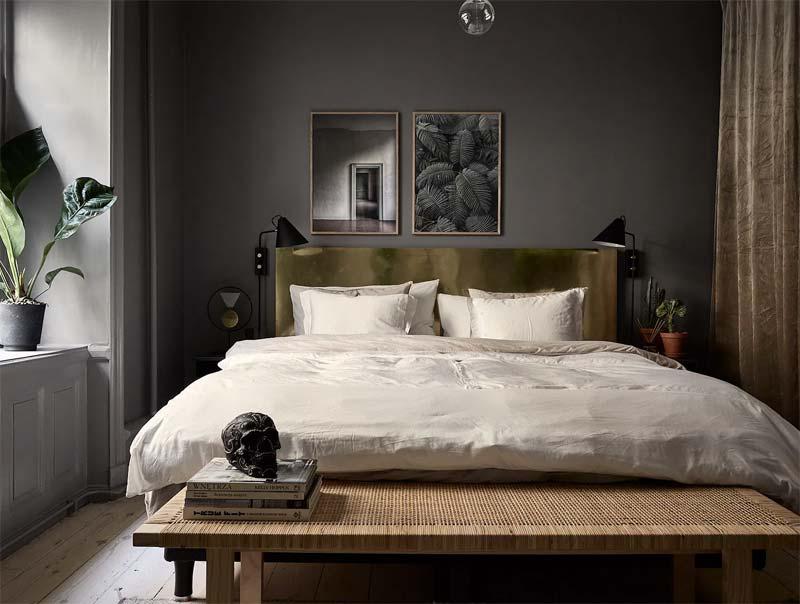 kleine slaapkamer donkere muren