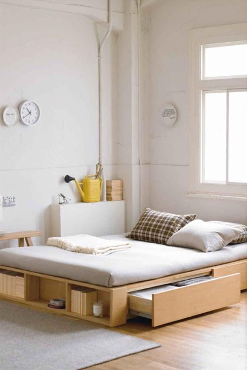 Een bed met opbergruimte is altijd handig!