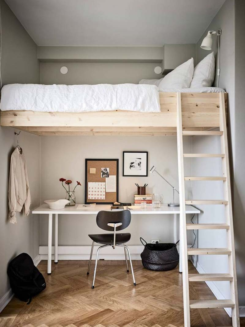 kleine slaapkamer tips hoogslaper werkplek