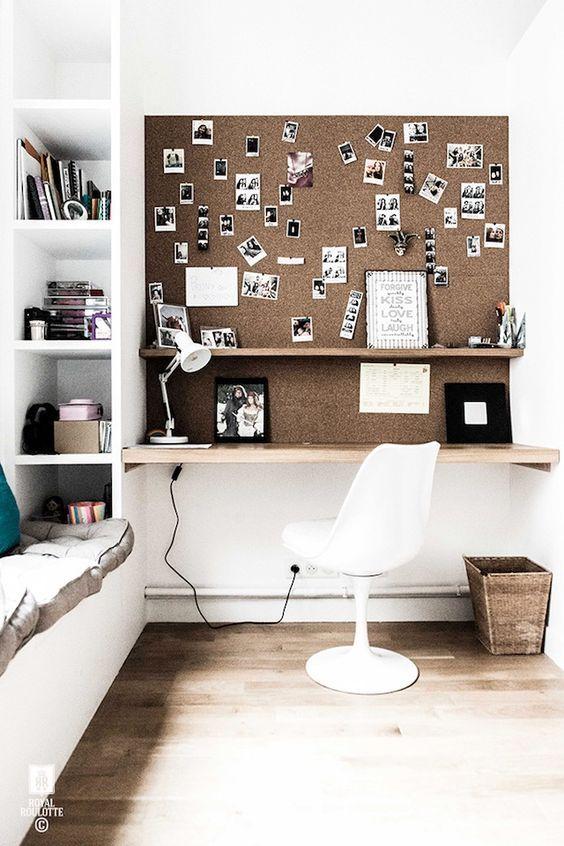 Kurk wand boven bureau