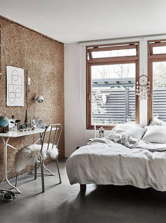 Kurk wand slaapkamer