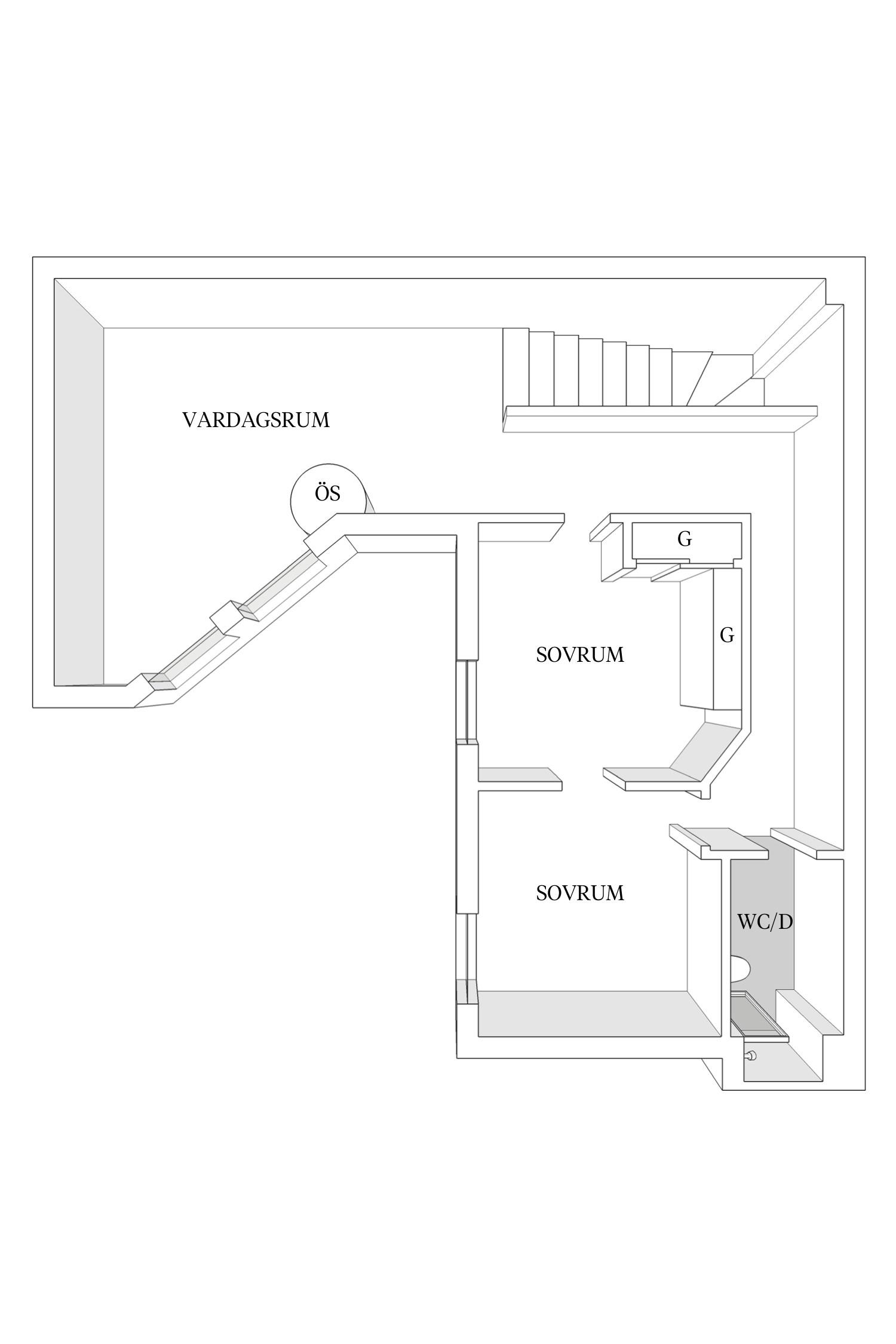Leuke driehoekige woonkamer