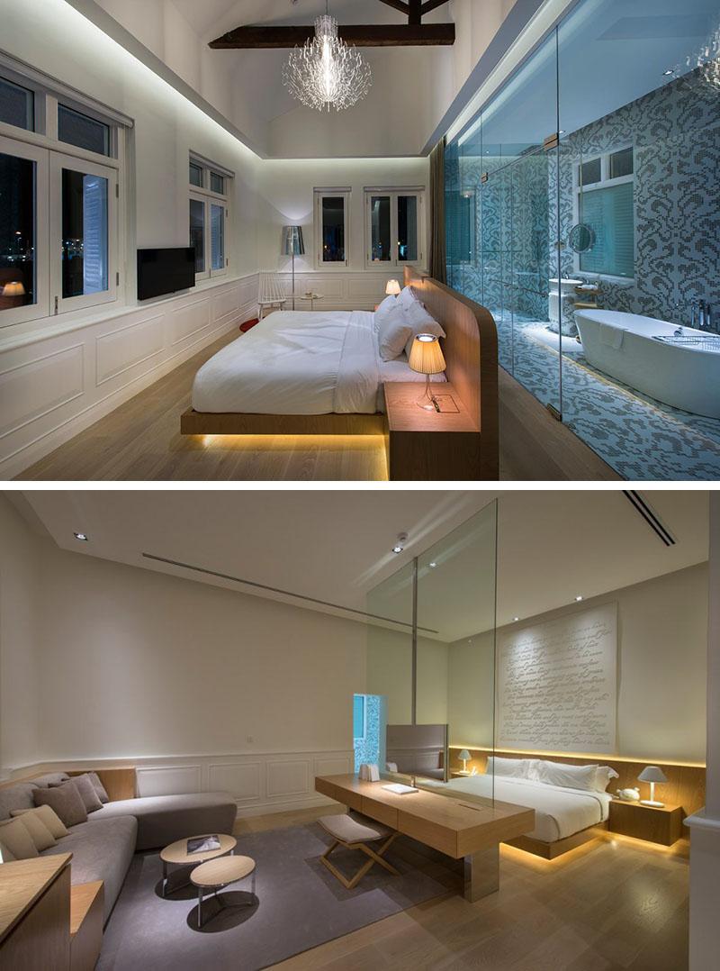 luxe hotel verlichting onder bed