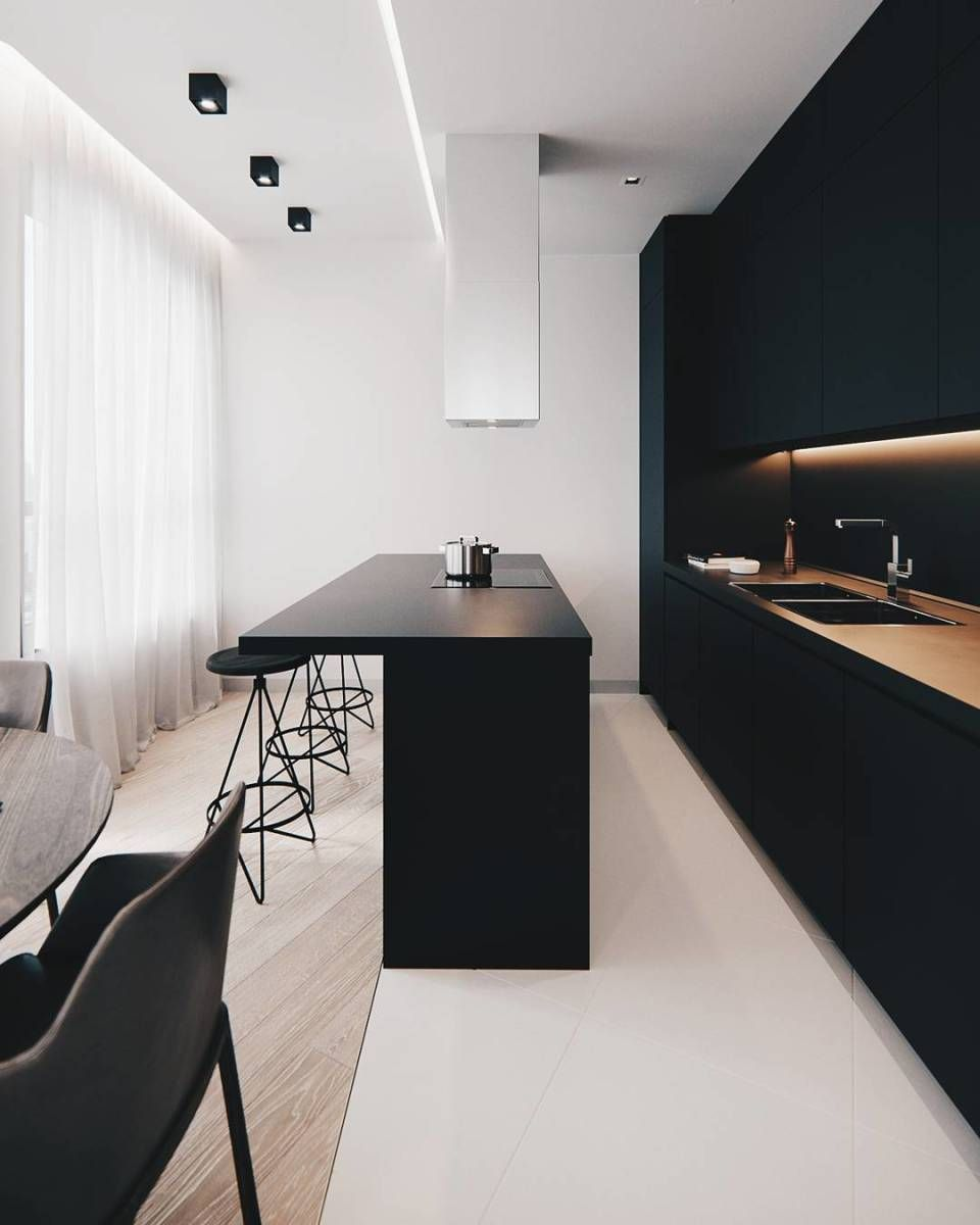 Minimalistische zwarte keuken