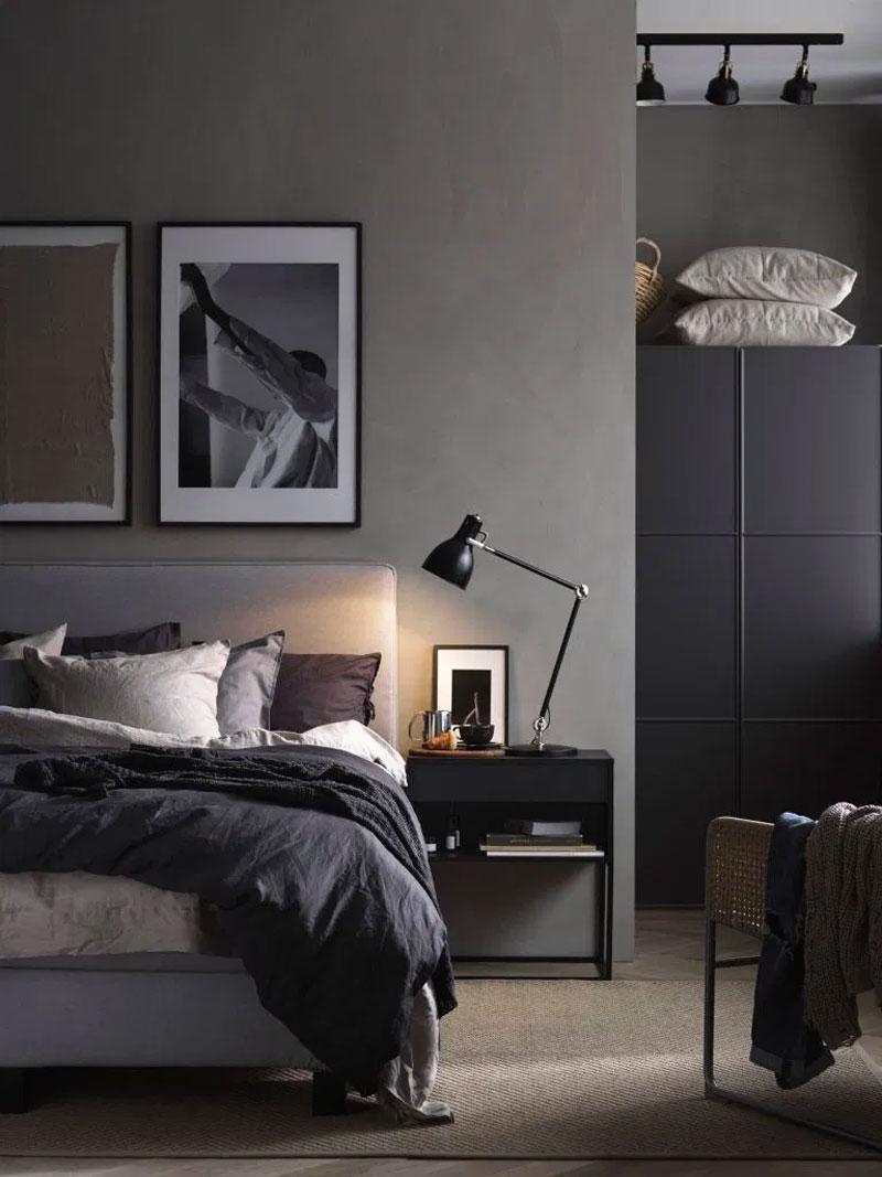 moderne donkere slaapkamer