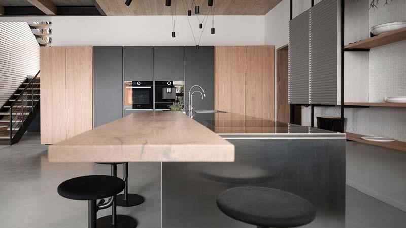 moderne keuken grijs hout