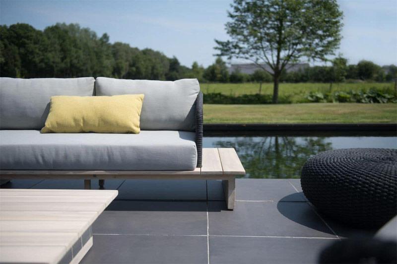 moderne teak loungebank tuin